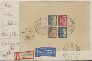 Block 1 IPOSTA 1930 als EF Luftpost-R-Brief Sonder-R-Zettel SSt BERLIN 20.9.30