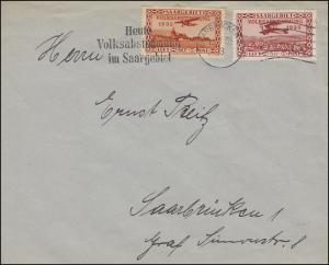 195-198 Flugpost Aufdrucke Tag der Volksabstimmung 13.1.35 Satz auf 2 Briefen