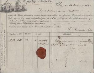 Württemberg Paketbegleitbrief Firma F. Bohnacker aus Ulm 14.2.1842 nach Öhringen
