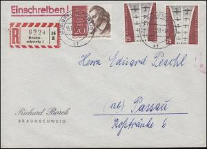 188 Berlin-Frankatur R-Brief Borek BRAUNSCHWEIG 15.12.1959 an Peschl Passau