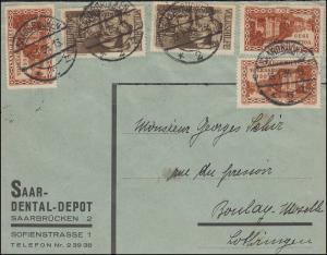 199 Volkshilfe/Aufdruck + 181 Volksabstimmung auf Brief SAARBRÜCKEN 13.1.1935