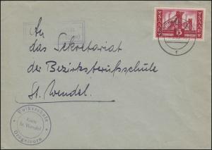 Landpost Grügelborn über ST. WENDEL 8.5.1956 auf Brief mit 329 als EF