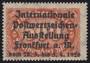 Privater Zudruck Intern. Postwertzeichen-Ausstellung Frankfurt 1926 auf 251, **