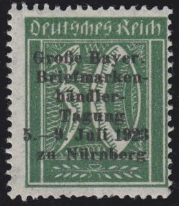 Privater Zudruck Briefmarkenhändler-Tagung Nürnberg 1923 auf 162, o.G./Falz
