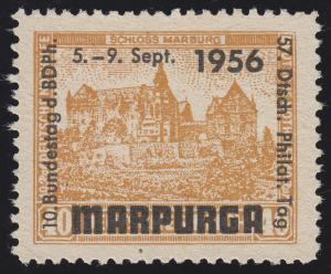 BDPh-Ausstellungs-Vignette Bundestag Philatelistentag MARPURGA 1956, ohne Gummi