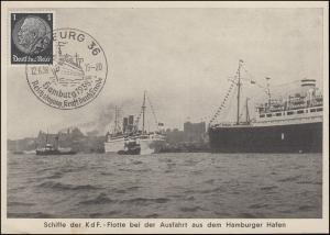 SSt HAMBURG Reichstagung Kraft durch Freude 12.6.1938 auf AK Schiffe der K.d.F.