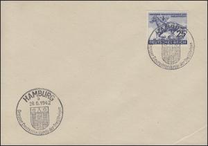 814 Das Blaue Band 1942 auf Umschlag mit SSt HAMBURG Deutschlandpreis 26.6.42