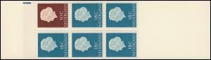 Markenheftchen 4 Königin Juliane 1965, Strich blau breit links oben **