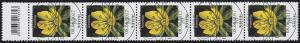 3314 Blume 10 Cent aus 200er-Rolle, 5er-Streifen mit Codierfeld, ESSt Bonn