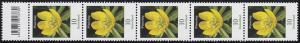 3314 Blume 10 Cent aus 500er-Rolle, 5er-Streifen mit Codierfeld **