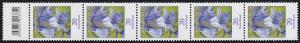 3315 Blume 20 Cent aus 200er-Rolle, 5er-Streifen mit Codierfeld **