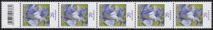 3315 Blume 20 Cent aus 500er-Rolle, 5er-Streifen mit Codierfeld **