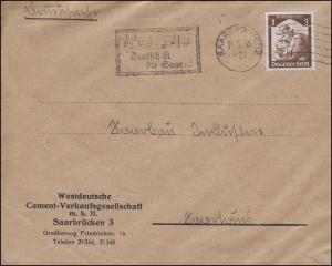 Webestempel Deutsch ist die Saar auf Drucksache Cement-GmbH SAARBRCKEN 14.5.1935