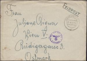 Feldpost BS Inf. Ers. Btl. 372 / 2. Kompanie, Brief DIEDENHOFEN 7.4.1941 n. Wien