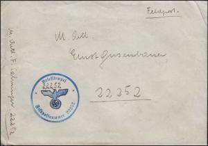 Feldpost BS Feldpostnummer 22252 auf Brief geschrieben am 7.10.1941