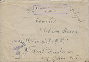 Feldpost Deutsche Dienstpost Ostland mit BS PF 41351 auf Brief an Post Reichenau