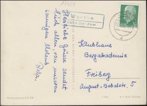 Landpost Warthe über USEDOM 24.8.1961 auf Ansichtskarte Ostseebad Zinnowitz
