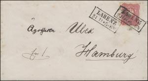 41 Reichsadler EF auf Brief Rahmenstempel LABENZ 24.11. nach HAMBURG 25.11.1886