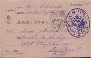 Feldpost Ungarn KuK RES. TEL. BAUABTEILUNG, TABORI POSTAHIVATAL 30 - 4.6.15
