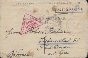 Kriegsgefangenenpost aus Rußland 31.3.1916 nach Falkenau mit Zensurstempel Wien