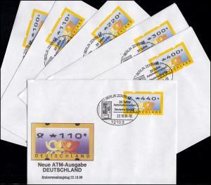 3.2 Posthörner VS 1 ATM 100-440 Pf., Satz auf 6 FDC mit ESST Berlin 22.10.99