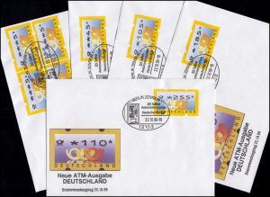 3.2 Posthörner VS-Satz 5 ATM 5-225, Satz auf fünf FDC mit ET-O Berlin 22.10.99