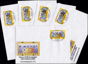 3.2 Posthörner VS-Satz 5 ATM 5-225, Satz auf fünf FDC mit ET-O Köln 22.10.99