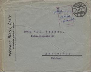 Gebühr-bezahlt-Brief handschriftlich TAXE PERCUE, GREIZ 4.9.1923 nach Amsterdam