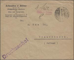 Gebühr-bezahlt-Stempel Drucksache STRASSGRÄBCHEN (AMTSH. KAMENZ) 18.10.1923