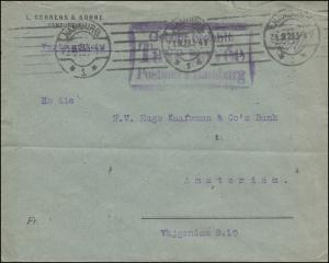 Gebühr-bezahlt-Stempel TAXE PERCUE Postamt HAMBURG 31.8.1923 Brief n. Amsterdam