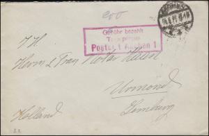 Gebühr-bezahlt-Brief TAXE PERCUE Postamt AACHEN 1923 nach Urmond / Holland