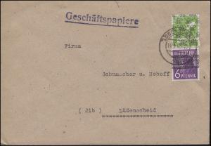 37I Band 6 Pf und 39 Netz 10 Pf MiF portogerecht Ortsbrief LÜDENSCHEID 14.8.1948