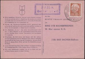 Landpost Faha über Merzig, Buchbestellkarte SSt MERZIG 100 Jahre Stadt 16.2.59
