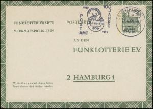 Funklotterie-Postkarte FP 12 Werbestempel 100 Jahre Postamt LEVERKUSEN 22.4.1969