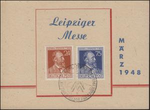 Sonderstempel LEIPZIGER Messe Frühjahr 2.3.48 auf Messekarte mit Stephan 963-964