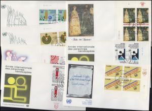 UNO Genf 96-102 Jahrgang 1981, ER-Viererblöcke mit TAB, 7 Schmuck-FDC GENF