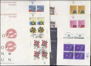 UNO Genf 103-110 Jahrgang 1982, ER-Viererblöcke mit TAB, 8 Schmuck-FDC GENF