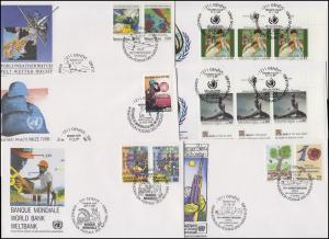 UNO Genf 173-181 Jahrgang 1989 (mit 180-181 als ZD-ER oben) auf Schmuck-FDC GENF