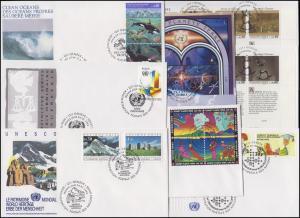 UNO Genf 210-224 Jahrgang 1992 (mit 223-224 als ZD-ER unten) auf 8 Schmuck-FDC