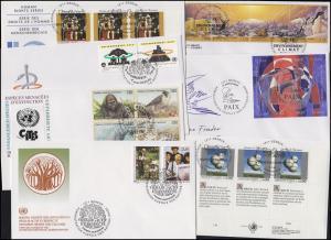 UNO Genf 225-242 Jahrgang 1993 (mit 233-234 als ZD-ER unten) auf 7 Schmuck-FDC