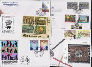 UNO Genf 243-260 Jahrgang 1994 (mit 245-248 und 250-253 als Vbl.), 7 Schmuck-FDC