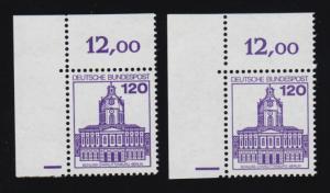 1141PZ BuS Plattenzeichen-Paar Ecke oben links unterschiedliche Strichlängen, **