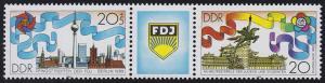 3248-2149 FDJ 1989 als Dreierstreifen - mit Verzähnung in der Jahreszahl, **