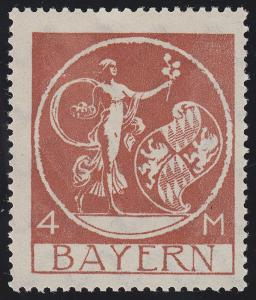 135III Abschiedsserie 4 Mark - ohne Aufdruck, mit Falz *, geprüft INFLA BERLIN