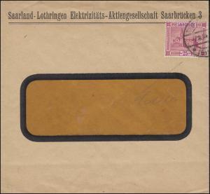 89I Neues Rathaus mit PLF I C mit Cedille auf Fensterbrief SAARBRÜCKEN 7.10.1924