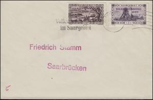 189I Volksabstimmung - PLF I Rahmenbruch, Bf. mit Zusatzfr. SAARBRÜCKEN 13.1.35