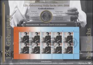 3230 125. Geburtstag von Nobelpreisträgerin Nelly Sachs - Numisblatt 2/2016