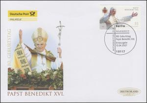 2599 Geburtstag von Papst Benedikt XVI., Schmuck-FDC Deutschland exklusiv