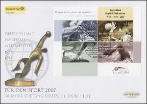 Block 70 Sporthilfe 2007, Block auf Schmuck-FDC Deutschland exklusiv