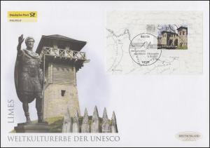 Block 72 UNESCO-Welterbe - Limes, Block auf Schmuck-FDC Deutschland exklusiv